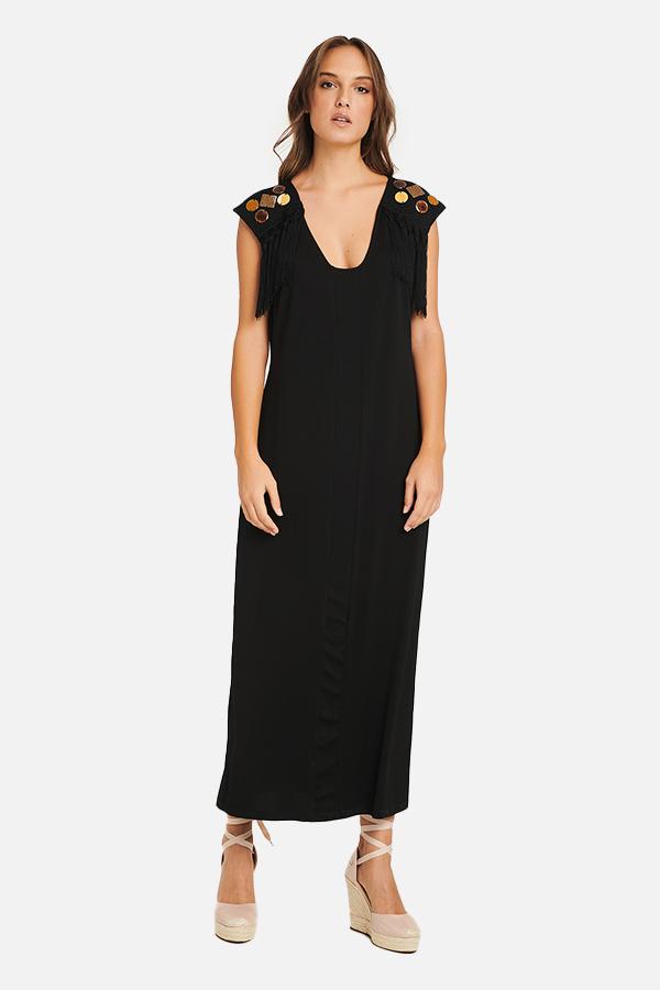 Φόρεμα ζέρσευ με κέντημα στους ώμους