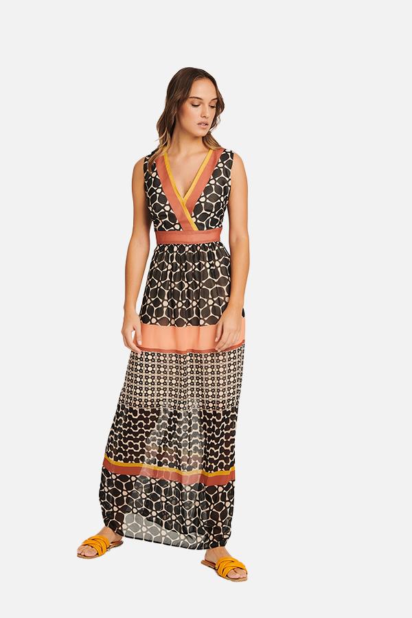 Φόρεμα εμπριμέ maxi