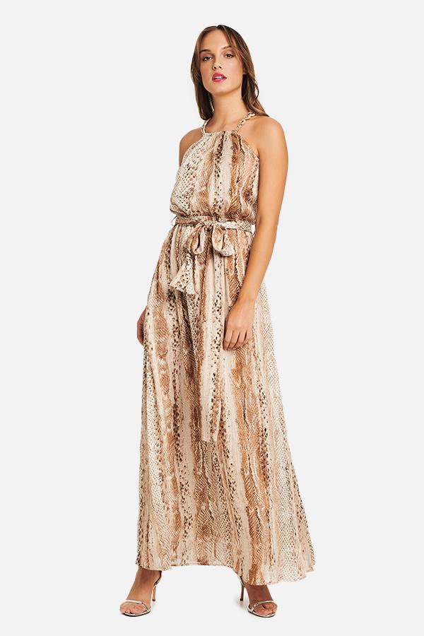 Φόρεμα maxi μουσελίνα φίδι με lurex