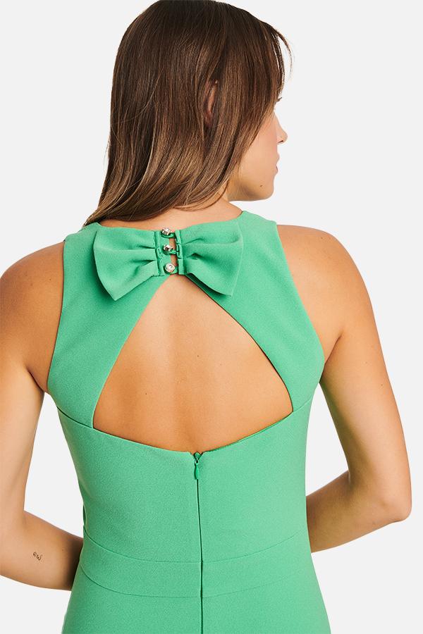 Φόρεμα κρεπ με φιόγκο πίσω
