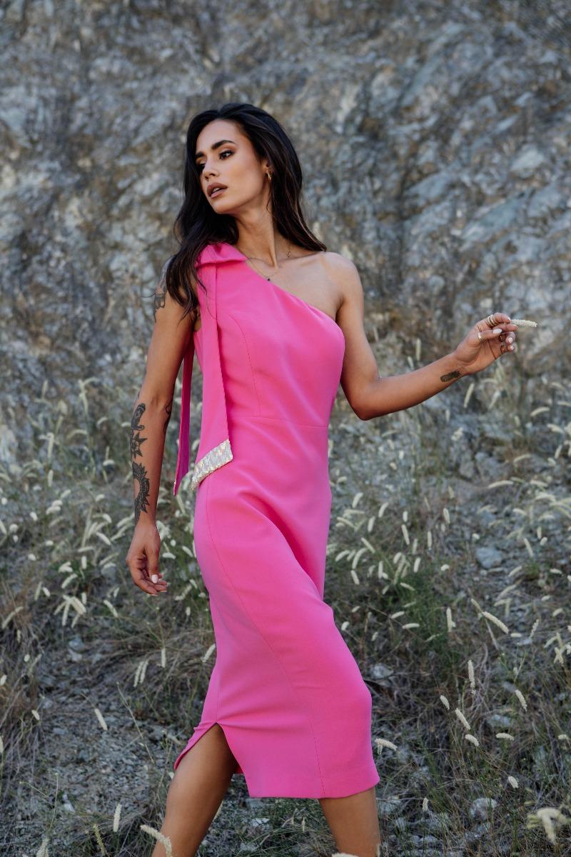 Φόρεμα κρεπ με έναν ώμο