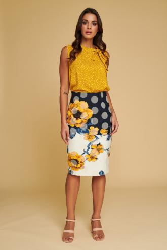 Φούστα πουά με τύπωμα λουλούδια