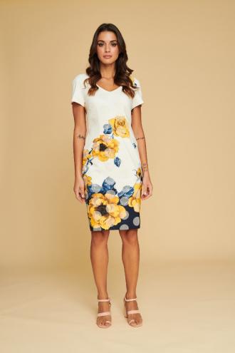 Φόρεμα κοντομάνικο πουά με τύπωμα λουλούδια