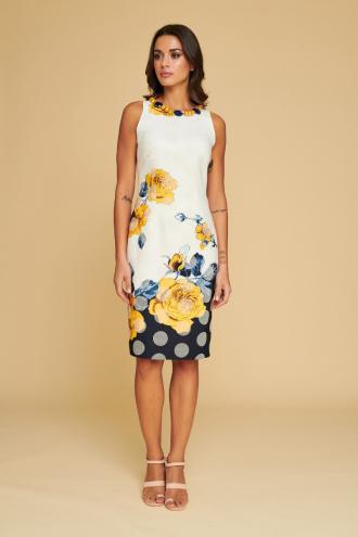 Φόρεμα πουά με τύπωμα λουλούδια