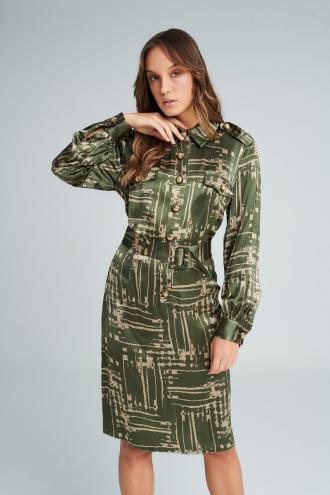 Φόρεμα με γεωμετρικά σχέδια και ζώνη