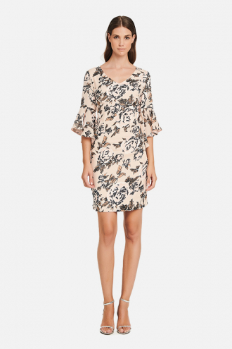 Φόρεμα floral με βολάν στα μανίκια