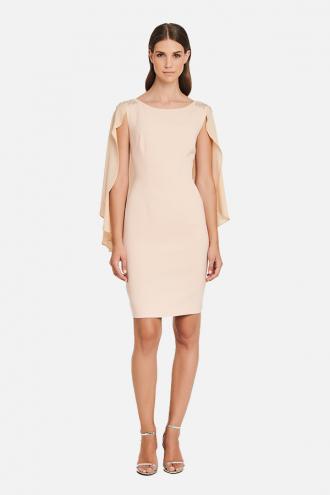 Φόρεμα κρεπ με εσάρπα και μοτίφ