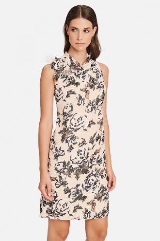 Φόρεμα floral αμάνικο με γιακά και μοτίφ
