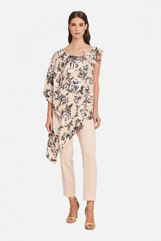 Μπλούζα floral ασύμμετρη με μανίκι