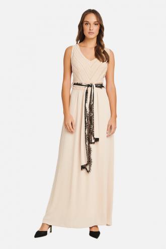 Φόρεμα maxi ζακάρ ρίγα και μουσελίνα