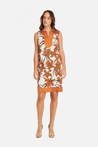 Φόρεμα σάκος εμπριμέ με lurex ρίγες
