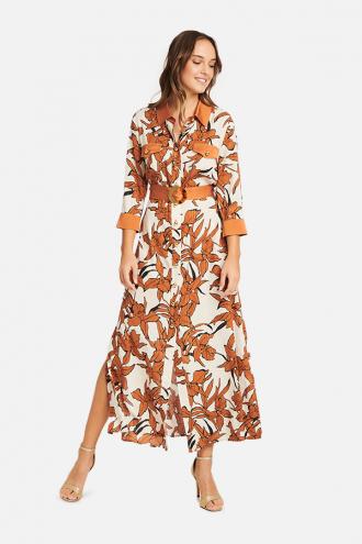 Φόρεμα maxi εμπριμέ με lurex ρίγες