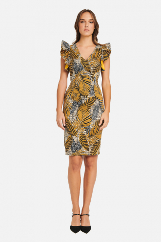 Φόρεμα άφρικα με βολάν μανίκια