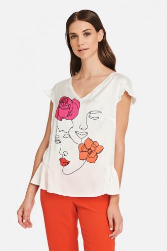 Μπλούζα με τύπωμα δύο πρόσωπα και τριαντάφυλλα