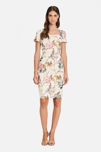 Φόρεμα με μανίκια ζακάρ με λουλούδια