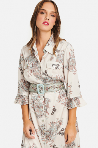 Φόρεμα λαχούρ maxi με κουμπιά