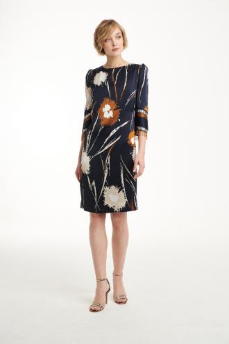 Φόρεμα εμπριμέ με μανίκια και κροσάκι