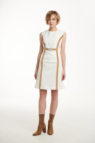 Φόρεμα κρεπ με κοτλέ ρέλι και κρικάκια