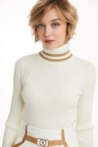 Μπλούζα πλεκτή ζιβάγκο με lurex ρίγες